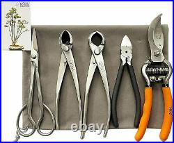 5-Piece Bonsai Tool Set, Bonsai Scissors, oncave Cutter, Knob Cutter, Wire Cut