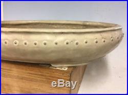 Awesome Cream Glazed Oval Shuho Bonsai Tree Pot With Rivets. 17 5/8
