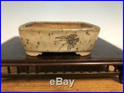 Awesome Painted Shohin Size Bonsai Tree Pot Sano Daisuke 3 1/4 Butterfly