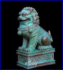 BONSAI GARDEN OLD CAST FOO DOG with STRONG PATINA