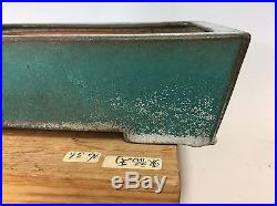 Beautiful Blue Green Glazed Tokoname Reiho Bonsai Tree Pot, Great Aging 13 7/8