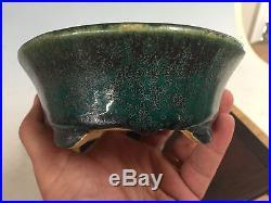 Beautiful Green And Blue Glazed Shohin Size Bonsai Pot Made By Koyo 7