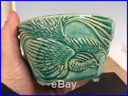 Beautiful High Bird Relief Shohin Bonsai Tree Pot Made By Shinobu, 5 1/8