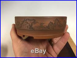 Beautifully Etched Bigei Shohin Size Bonsai Tree Pot, Great Style 4 7/8