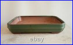 Bonsai Pot. 25.5 Cm High Quality Green Shallow Rectangular Glazed Bonsai Pot