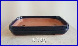 Bonsai Pot. 25.5 Cm Shallow Rectangular Blue High Quality Glazed Bonsai Pot