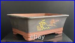 Bonsai Pot 36cm Large Black Rectangular Unglazed Pots With Art Work #AA+26