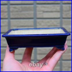 Bonsai pot Miko Ruri glaze outer edge cloud leg long