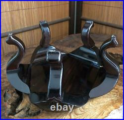 Bonsai stand Ebony cherry blossom type five-legged flower stand JapanRare used