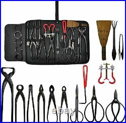 Bonsai tools set multi-function 14Piece set Carbon Steel Shear Set and Tool Kit