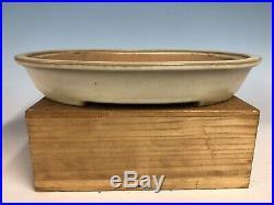 Cream Glazed Oval Tokoname Bonsai Tree Pot By Yamafusa 13 5/8
