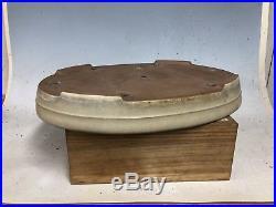 Cream Glazed Oval Tokoname Yamafusa Made Bonsai Tree Pot 16 1/8