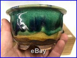 Green Blue Round Glazed Shohin Size Bonsai Tree Pot By Fugushige Bushuan 4 3/8