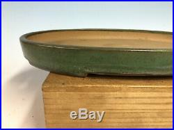 Green Glazed Oval Tokoname Bonsai Tree Pot By Yamafusa 15 7/8