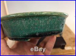 Green Glazed Shohin Size Tokoname Bonsai Tree Pot Made By Koyo 6 3/8