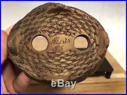 Hand Carved Shohin Sized Bonsai Tree Pot Made By Tani Ranzan 5 1/8