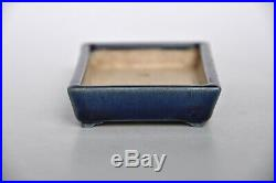 Heian Kouzan Japanese Handmade Pre-war Blue Glazed Shohin Rectangle Bonsai Pot