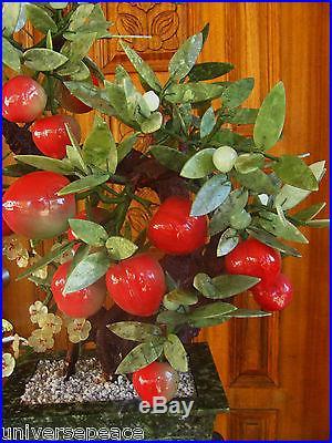 Huge Nat. Jade Bonsai Peach Tree Suiseki Okimono Zen Byobu Interior Art Display