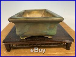 Japanese Handmade Shohin Size Bonsai Tree Pot Made By Baiho 6 1/8 High Relief
