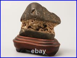 Japanese Vintage Suiseki Bonsai KUZUYA Stone / W 10.4× H 9.5cm, 468g