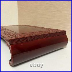 Japanese antique Flower stand Bonsai stand Wooden table Wood carving 42.5cm JP