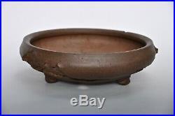 Kataoka Sadamitsu Koshousen Yamaaki Mushikui Tokoname Unglazed Round Bonsai Pot
