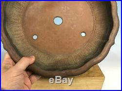 Konagumi Mirror Shape Red Clay Bonsai Tree Pot By Hokido 12 7/8