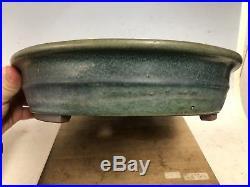 Large Beautiful Green Glazed Tokoname Yamaaki Bonsai Tree Pot 15