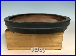 Large Dark Blue Glazed Tokoname Bonsai Tree Pot By Reiho 20