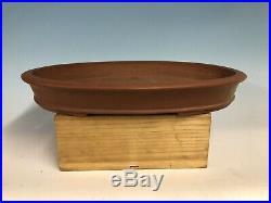 Large Handmade Unglazed Oval Tokoname Bonsai Tree Pot By Shozan 18 3/8