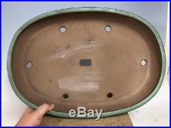Large Size 18 3/8 Green Glazed Oval Tokoname Bonsai Tree Pot By Yamafusa