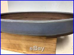 Large Size 19 Blue Glazed Oval Tokoname Bonsai Tree Pot By Yamaaki
