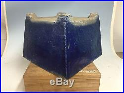 Large Size 50-80 Yr Old Blue Glazed Canton Era Chinese Bonsai Tree Pot 10 7/8