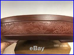 Large Size Etched Bonsai Tree Pot By Bigei, Tokoname Piece 12 1/4