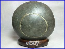 Natural polished Viewing stone suiseki-super rare big circle quartz pattern