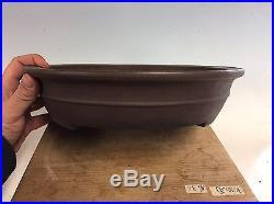 Oval Brown Clay Yamaaki Bonsai Tree Pot With A Band. Nice Shape 15 1/8