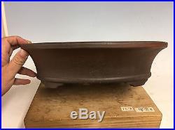 Oval Unglazed Zenigo Made Bonsai Tree Pot With Great Shape And Patina 13