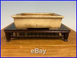 Rare Gold Tagaki Coll. Cream Shohin Size Glazed Bonsai Tree Pot Tofukuji 4 1/2