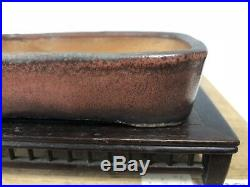 Rare Red Glazed Taisho Era Japanese Shohin Size Bonsai Tree Pot 5 100yrs Old