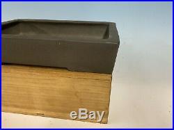 Rectangle Grey Clay Unglazed Bonsai Tree Tokoname Pot By Yamaaki Kiln 11 1/4