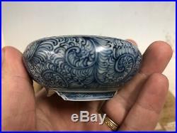 Round Blue Painted Shohin Size Bonsai Tree Pot By Sano Daisuke 3 1/8