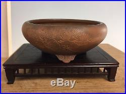 Round Hand Etched Shohin Size Bonsai Tree Tokoname Pot By Bigei 5