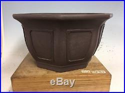 Semi Cascade Bonsai Tree Pot With Windows 8 Sided, Yamaaki 12 3/8 By 6 1/4