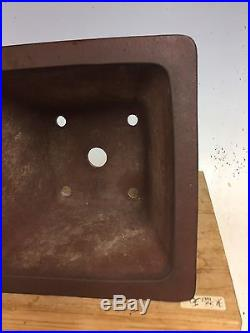 Semi Cascade Unglazed Bonsai Tree Yamaaki Pot, Great Patina And Design 8 7/8