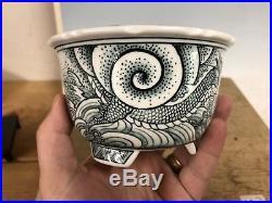 Shohin Bonsai Tree Pot Made By Ito Gekkou, Hand Painted Dragon 5 1/4 By 3 1/4