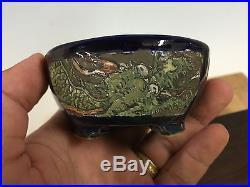 Shohin Or Mame Size Sano Daisuke Bonsai Tree Pot, Dragon Painted Piece 3 1/4