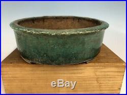 Stunning Handmade Tokoname Green Glazed Bonsai Tree Pot By Shuho 13