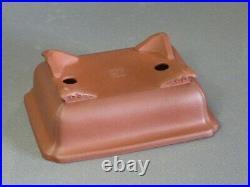 Tokoname Bonsai Pot IKKO Red Brown Outer edge Rectangle 160Ã120Ã57mm