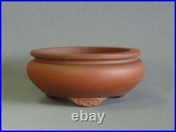 Tokoname Bonsai Pot IZUMIYA Red Brown Cloud Legs Round Diameter 158mm à H 69mm