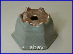 Tokoname Bonsai Pot SHUHO Light Green (Seiji) Hexagon 120 Ã 107 Ã 70mm